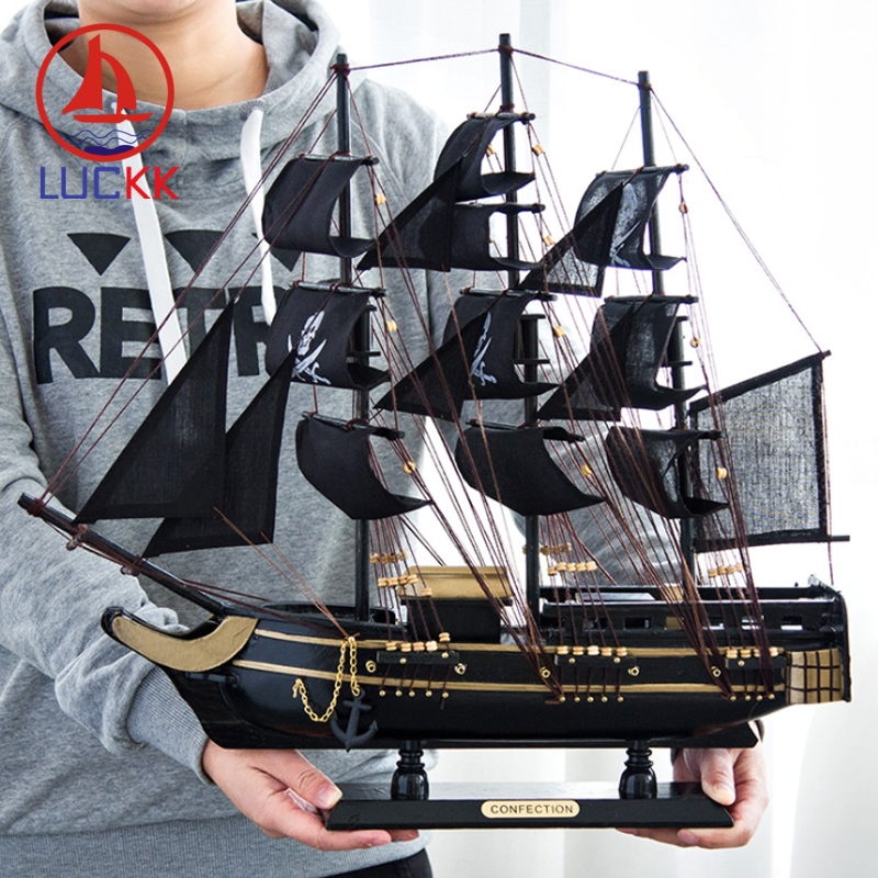 Image 5 - LUCKK DIY 50 см черная Пиратская деревянная парусная лодка модель корабля домашние поделки для декорирования интерьера море стиль игрушки парусная модель классика-in Статуэтки и миниатюры from Дом и животные