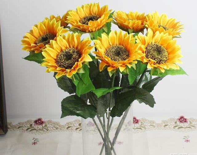 artificial flower single sunflower table top desktop layout