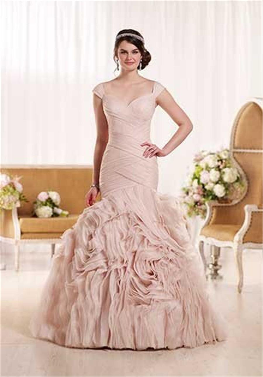 Bonito Vestido De Novia De Organza Trompeta Embellecimiento ...