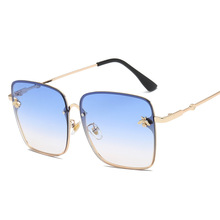 Square Bee Retro Metal Frame Oversized Sunglasses RK
