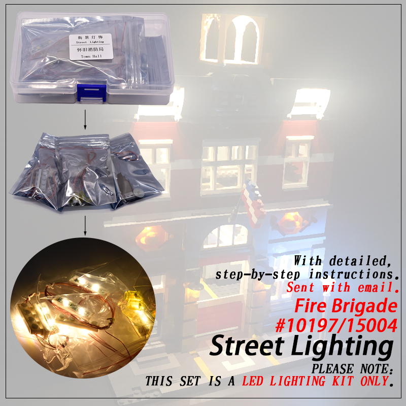Led Light Set (only light included ) For <font><b>10197</b></font> Fire Brigade Compatible 15004 Streetview Creator Building Blocks Bricks image