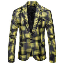 лучшая цена Suit jacket European code Autumn new men's fashion casual lattice small suit men's single button large size S-XXXL suit jacket