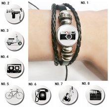Винтажные браслеты из черной кожи с фотокамерой и телефоном