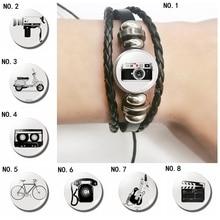 Vintage Camera Photo and Telephone Black Leather Bracelets ,DIY Glass Cabochon Multi-layered Photographers Gifts