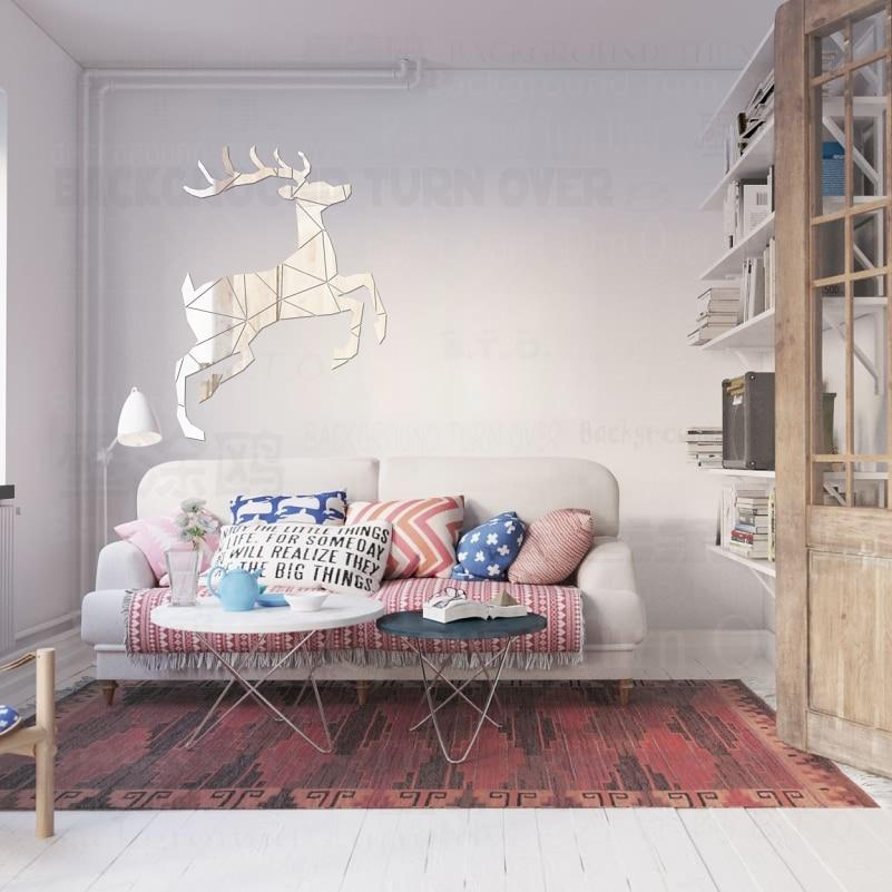 Yaradıcı maralı 3D Dekorativ Güzgü Divar Etiketləri Qonaq - Ev dekoru - Fotoqrafiya 2