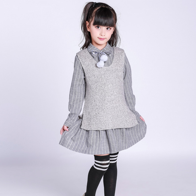 5eac17f69 Girls clothes 2017 autumn spring preppy style children's clothing shirt for  2 3 4 5 6 7 8 9 10 years old kids one-piece dress
