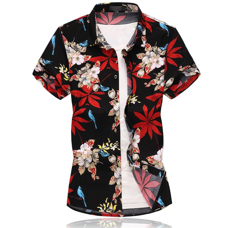 Social Shirt Men Short Sleeve Floral Mens Dress Shirts Flowers Hawaiian Style Blouse Menswear Summer Navy Black New