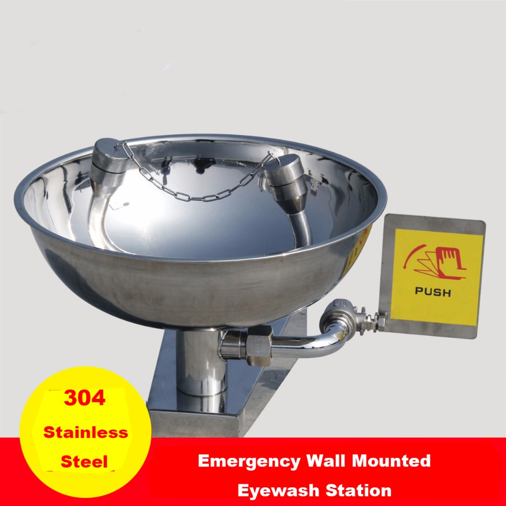 304 Stainless Steel Eye Wash Emergency Wall Mounted Eyewash Station Double Mouth Eye Washer
