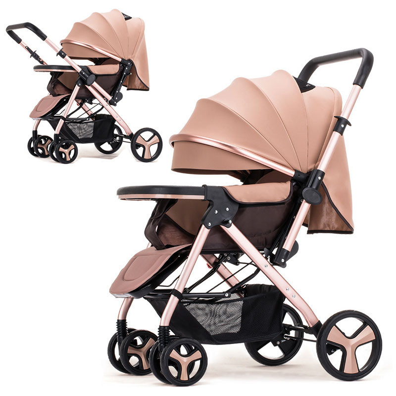 Two-way Convertible Push Handle Sit Lie Flat Baby Stroller Lightweight Newborn Baby Carriage Travel Four Wheels Stroller Pram