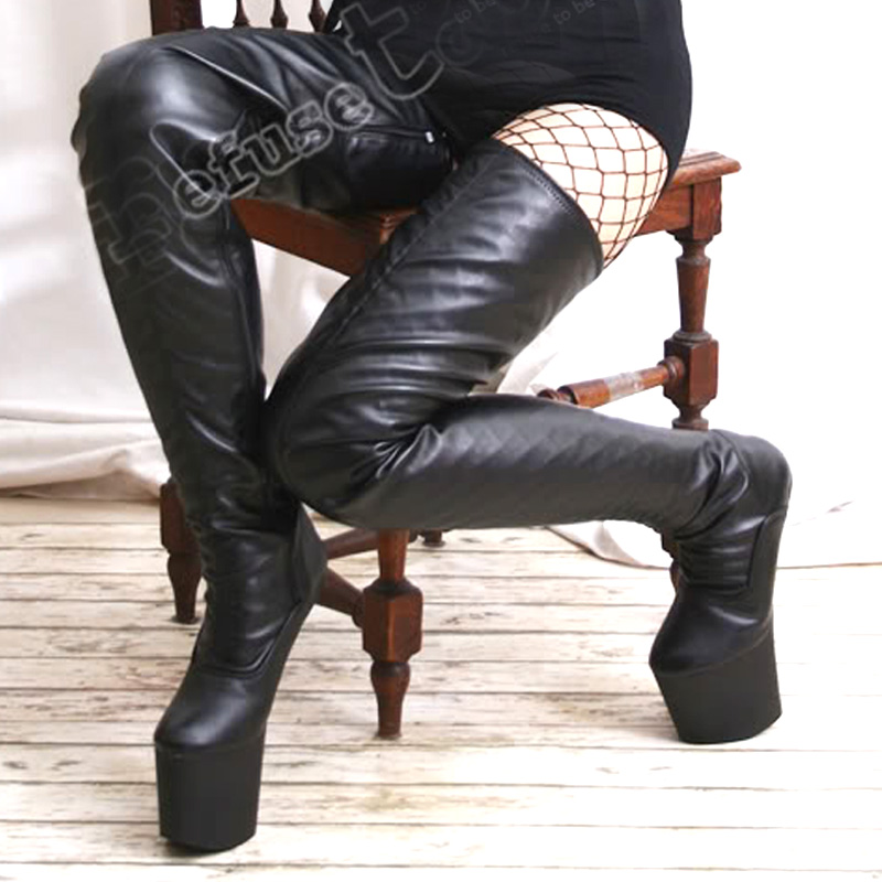 Jialuowei women black matt Leather Extreme 20CM High heels Platform sexy boots sex no-heel thigh high Over-the-Knee Shoes 2016 new autumn winter over the knee casual women boots plus size boots for women fashion sweet lady shoes high thigh knee