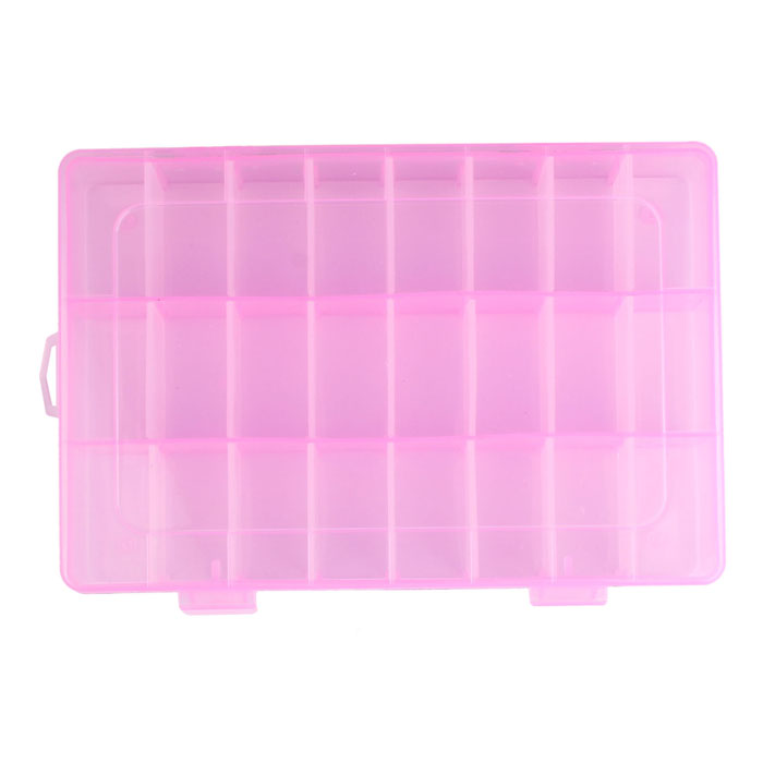 Fashion High Quality Adjustable 24 Compartment Plastic Storage Box Jewelry Earring Case drop shipping Aug19