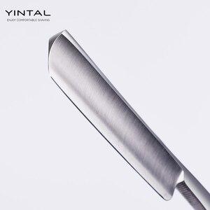 Image 5 - 440C çelik düz jilet erkekler tıraş jilet ahşap saplı kuaför bakır manuel tıraş makinesi klasik kazıyıcı abanoz ahşap saplı keskin