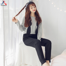 Фотография JCVANKER Hot Sale Kawaii Pajamas Set For Women Cute Animal Pattern White Grey Long Sleeve Lovely Girl Sleepwear Female Homewear