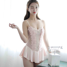 New sexy lingerie summer Siamese princess dress white strap short skirt