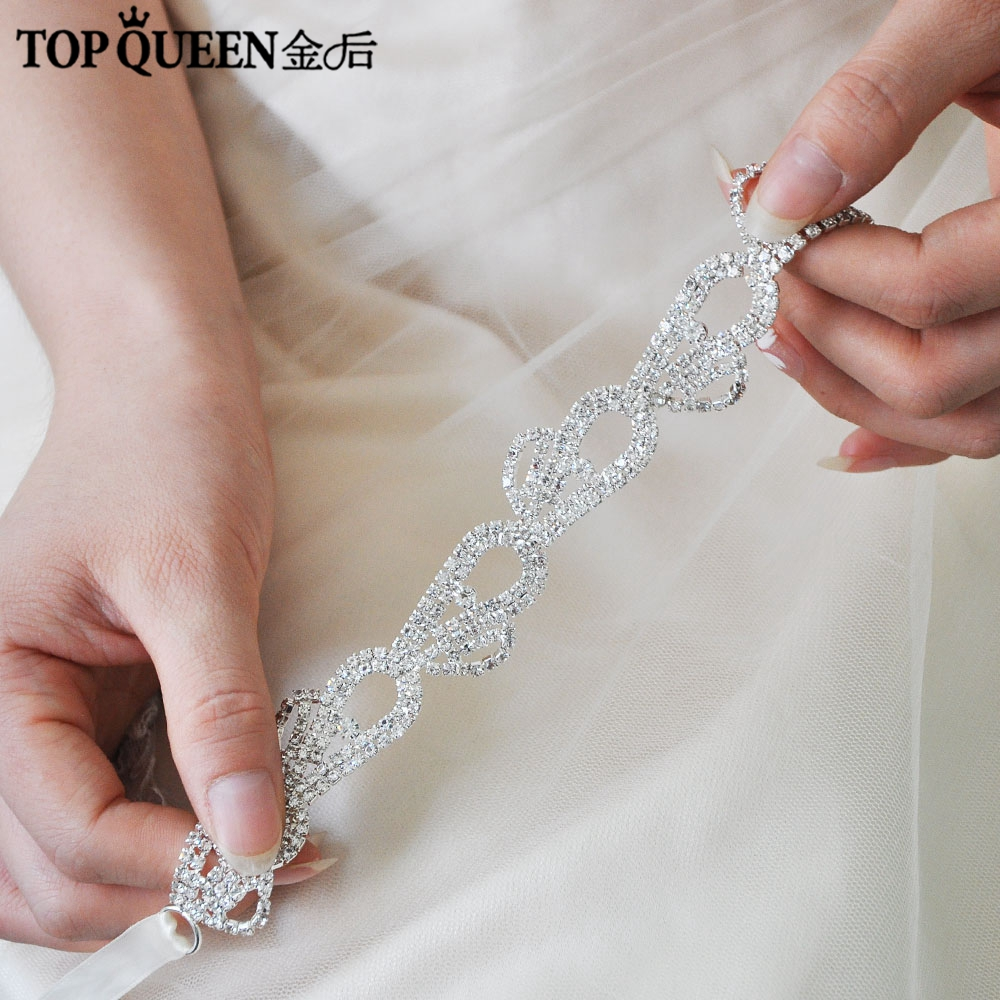 TOPQUEEN H302 Hot Fashion Bridal Wedding Headband Thin Diamond Flowers Hairband Bride High Quality Elegant Hair Accessories
