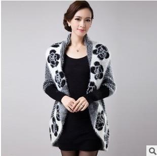 2016 осень женщин корейской мода цветы мохер вязать шаль кардиган свитер средней длины свитера XQ422