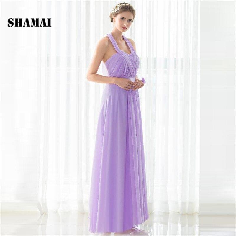 SHAMAI étage longueur licou robes de demoiselle d'honneur robe de mariée en Stock violet clair mousseline de soie à lacets nouvelles robes de demoiselle d'honneur