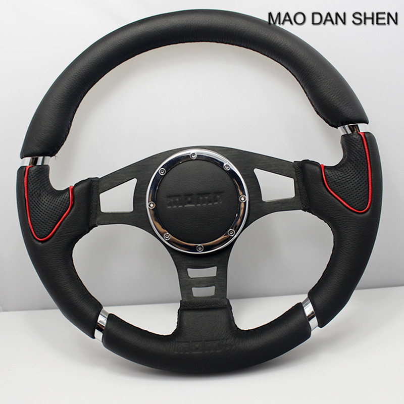 Car modified leather steering wheel 14 inch universal imitation racing steering wheel fit for vw Ford