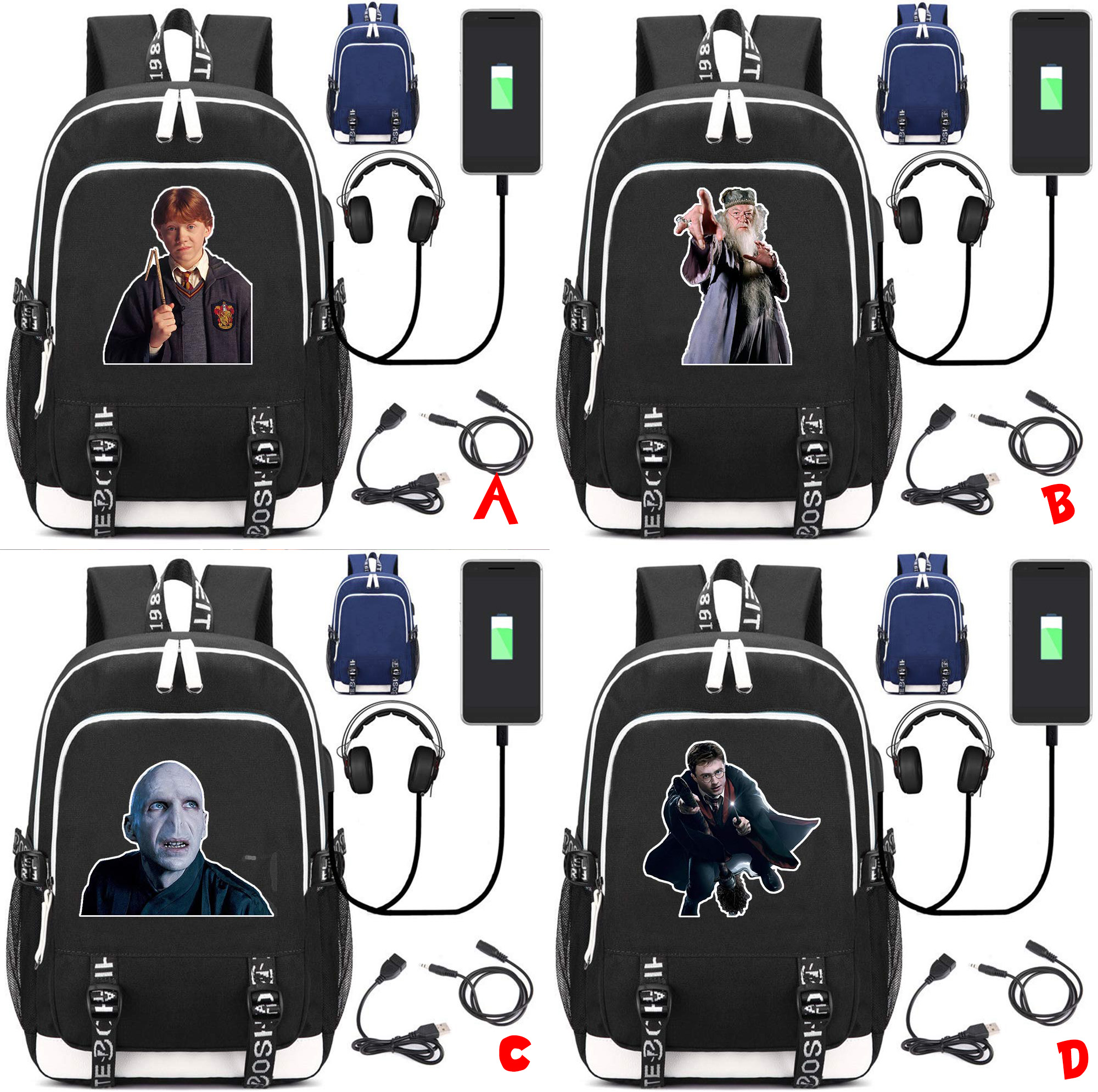 Harri Potter Backpack Lord Voldemort Notebook Backpack Multifunction USB Charging Backpack Laptop Bag Travel Student School Bag