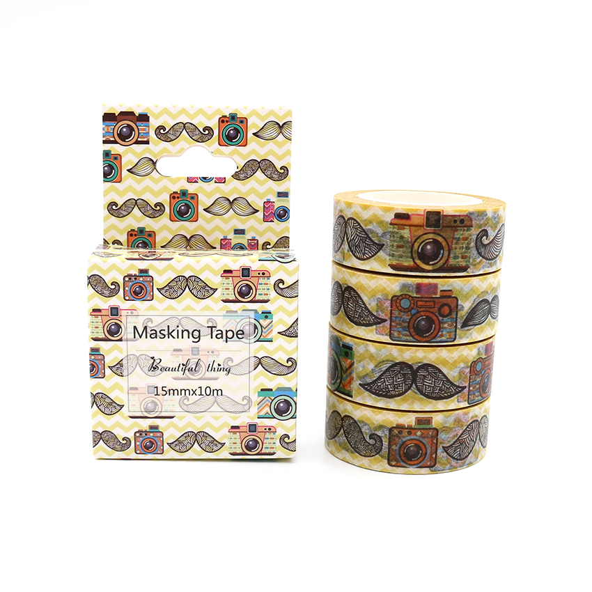 Box Package Moustache And Camera Washi Tape Excellent Quality Colorful Paper Masking Tape DIY Decorative Tapes 10m*15mm