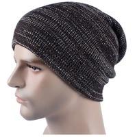 Winter Men Knitted Cotton Blended Oversized Slouch Beanie Hat Cap Unisex Women Warm Beanie Cap