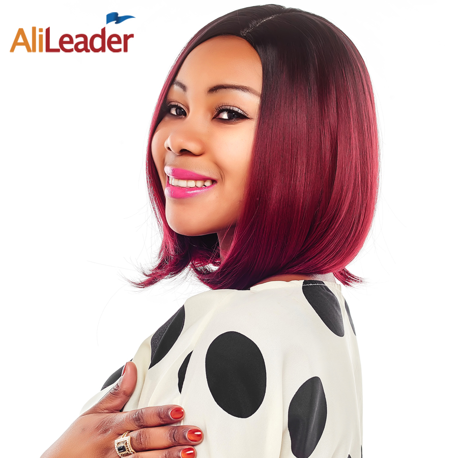 Alileader Bob Wigs With Bangs 8 Colors Short Ombre Brown