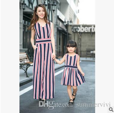 9d0f071a4776 Mother and daughter clothes girls stripe princess dress womens sleeveless  washed loose wide leg trousers jumpsuit 2017 kids clot