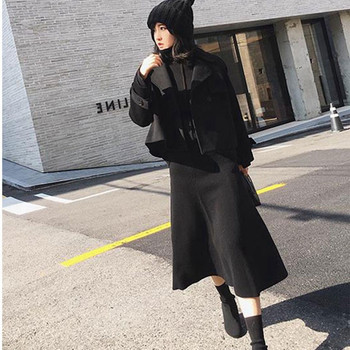 2019 new cashmere long skirt wool knit a word skirt female long section high waist solid color loose umbrella skirt skirt 2