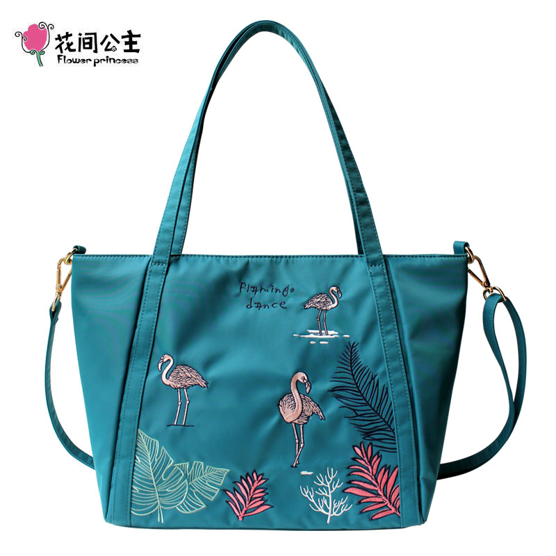 Flower Princess Nylon Flamingo Large Tote Shoulder Crossbody Handbag Women High School Girls Ladies Hand Bags Bolsa Feminina цена