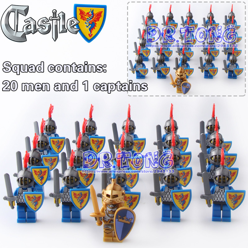 DR TONG 21PCS/LOT Medieval Castle Blue Knight Heavy Shield with Weapons Figures Building Blocks Figure Bricks Children Toys Gift dr tong 20pcs lot pg1049 super hero