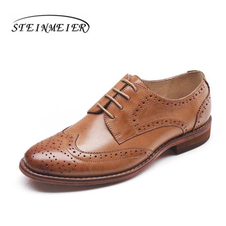 Yinzo femmes véritable peau de mouton en cuir richelieu chaussures femme oxford confortable casual plat mocassins chaussures