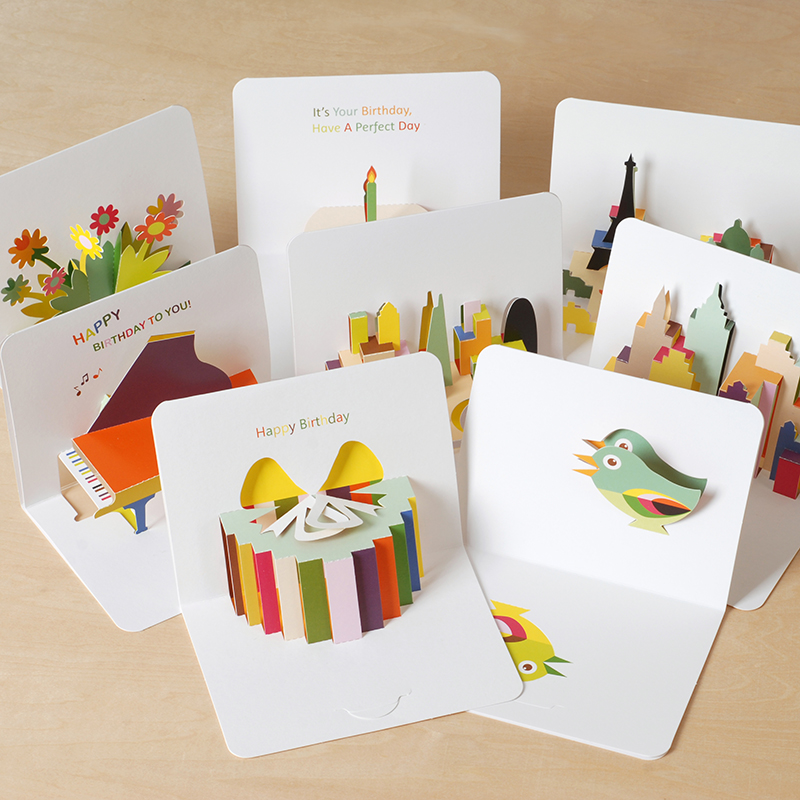 5 Pcs/lot Creative Paper Carving Three-dimensional Cards Birthday Card Greeting Cards Folding Postcards