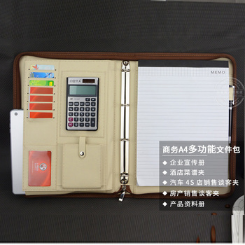 Faux leather folder for documents file folder a4 business manager bag briefcase with zipper 4 ring binder calculator clip 1206
