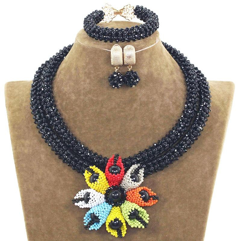 Multicolor Handmade Flowers Black Ladies Jewelry Sets Bridal Wedding Jewelry Set With Nigerian Beads Necklace Jewellery ABH551