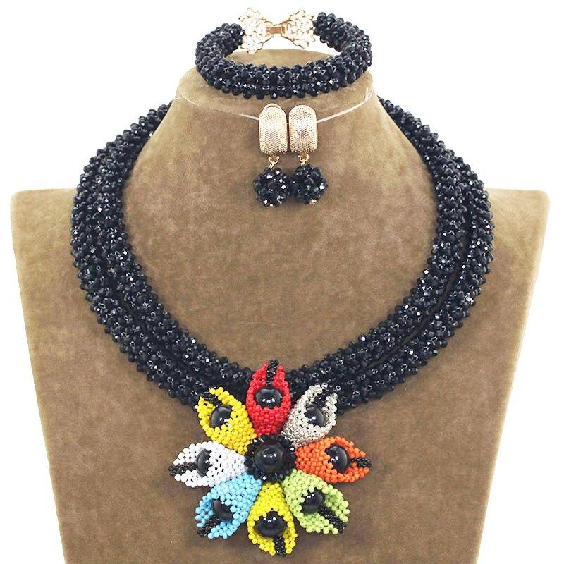 Multicolore à la main fleurs noir dames ensembles de bijoux de mariage nuptiale ensemble de bijoux avec des perles nigérianes collier bijoux ABH551