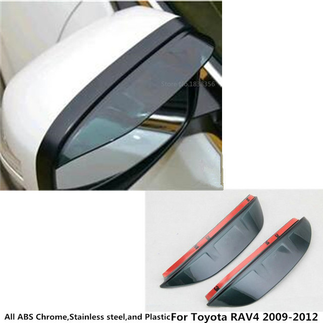Car rear Rearview Side glass Mirror trim frame Rain Shield Sun Visor Shade eyebrow 2pcs for Toyota RAV4 2009 2010 2011 2012