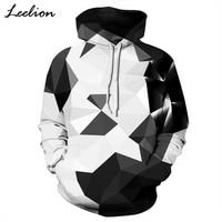LeeLion 2018 New 3D Hoodies Men Women Sweatshirts With Hat White Black Plaid Print Spring Autumn