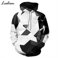 LeeLion 2018 New 3D Hoodies Men Women Sweatshirts With Hat White Black Plaid Print Spring Autumn