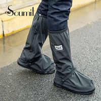 Soumit Cycling Shoes Cover Waterproof Windproof Rain Boots Black Reusable Shoe Covers for Men Women Bike Overshoes Boot Shoe