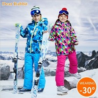 30 degree Children clothing Set boys girl kids snowboard ski suit Waterproof outdoor sports jacket pants clothes snowsuit teen