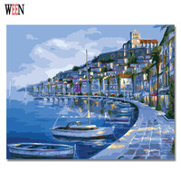 WEEN DIY Lakeside Landscape Oil Painting By Numbers On Canvas Morden Digital Boat Wall Acrylic Coloring Arts Home Decor posters