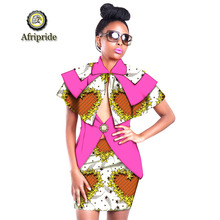 2019 african summer 2-piece suits for women Turtleneck short top+short skirt sexy club print dashiki party AFRIPRIDE S1926020