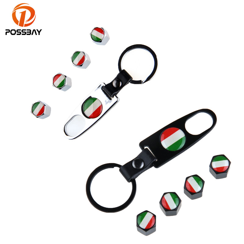 POSSBAY Car Wheel Air Tyre Valve Cap Italy Flag Tire Valve Caps Stem with Wrench Keychain Ring Spanner New 4pcs/Set