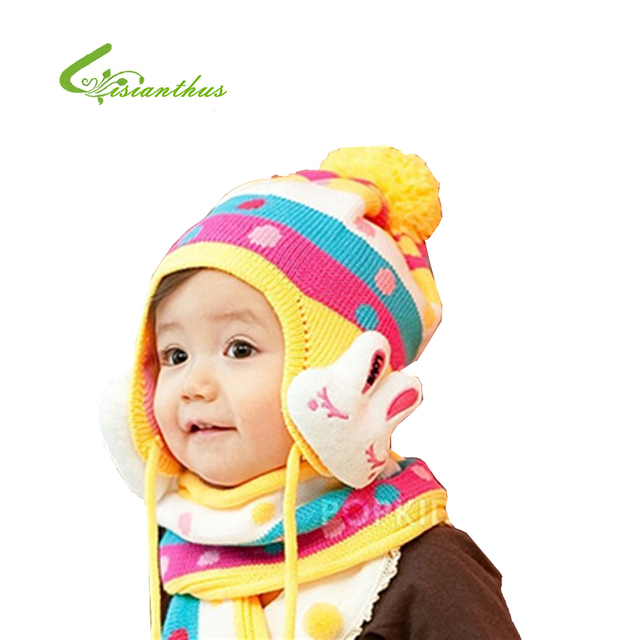 Hot Winter Baby Cap Models Cartoon Rabbit Children Baby Wool the Rainbow Hat + Rainbow Scarf Set Baby Gift Free Shipping TM010