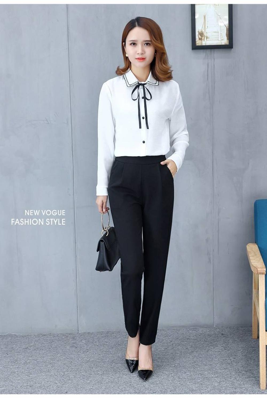 Women's Pants Casual Fashion Solid Mid Elastic Waist Long Trousers Office Plus Size Women Joggers Sweat Skinny Pencil Pant Black 4