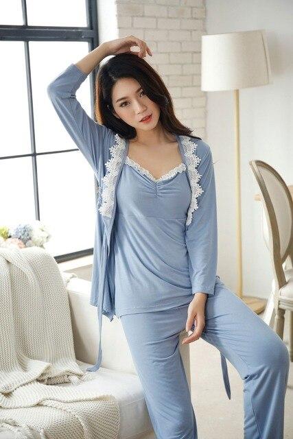 b0e7430b8f7db Sleepwears بلا النساء منامة القطن الخامس الرقبة أكمام منامة ملابس نوم لطيف  منامة ملابس خاصة ملابس