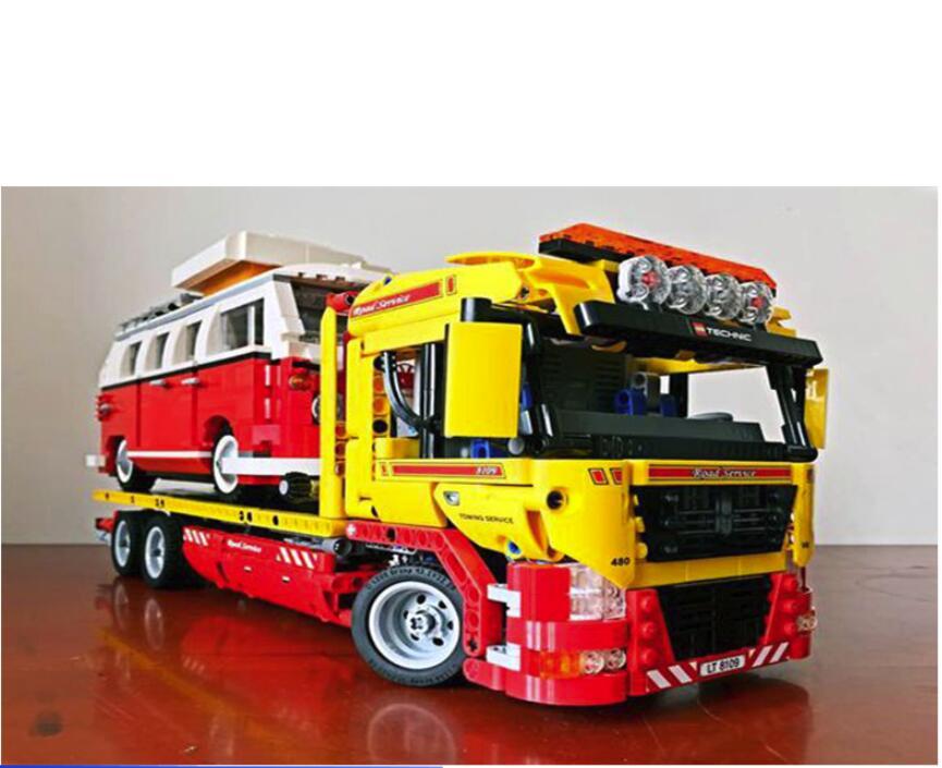 NEUE 20021 technik series 1143 stücke tieflader Modell bausteine Bricks Kompatibel Spielzeug Geschenk Pädagogisches Auto 8109-in Sperren aus Spielzeug und Hobbys bei  Gruppe 1