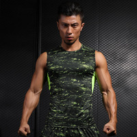 Summer New Style Raindrops Men S Vest Compression Highlight Tight Fitness Loose Breathable Sleeveless Green Tank