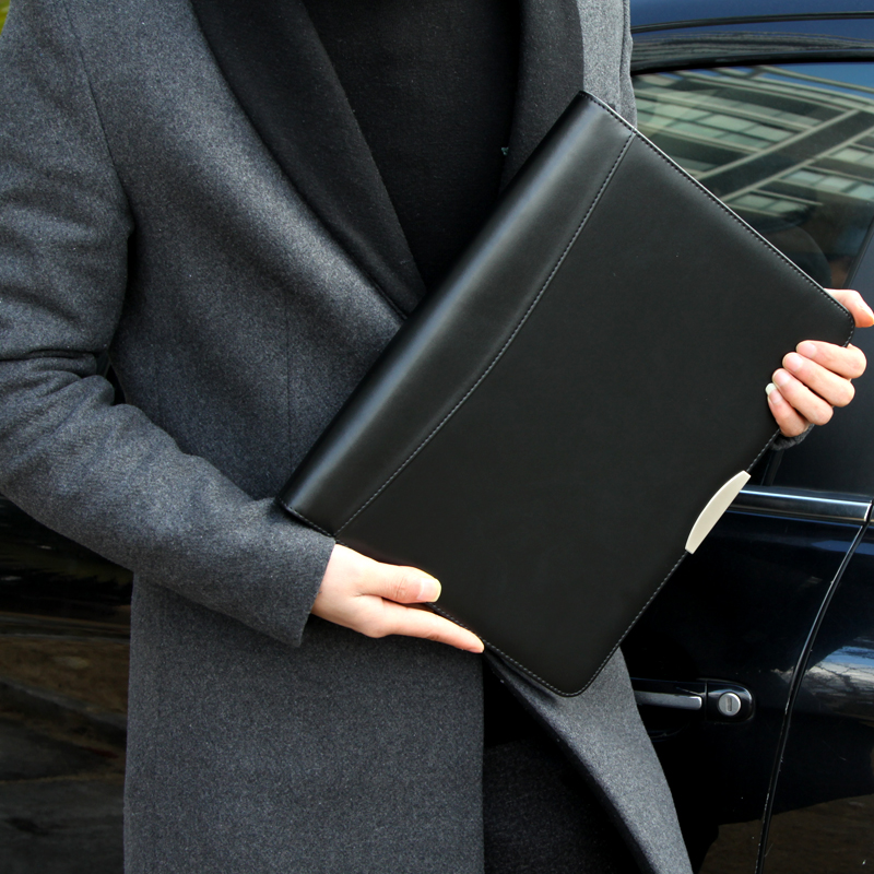 ФОТО leather padfolio business A4 manager planner black loose-leaf 4 coil custom pu leather zip document folder bag with calculator