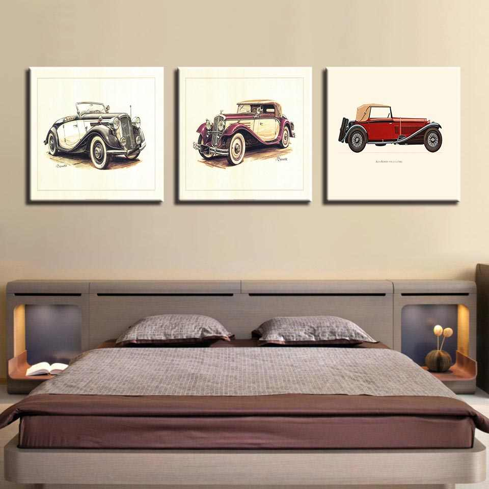 Canvas Paintings Living Room Wall Art Hd Prints 3 Pieces Hot Rod Vintage Car Poster Kids